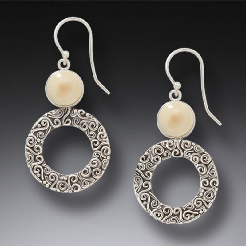 """Arctic Sun"" Ancient Mammoth Tusk Ivory Silver Earrings"