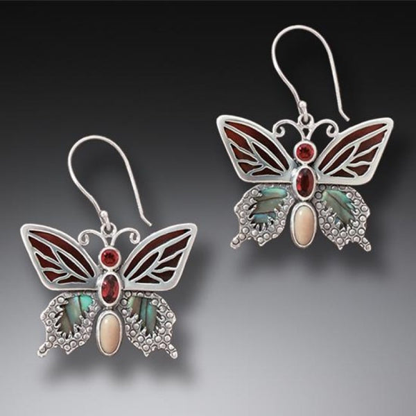 """Transition II"" Ancient Fossilized Walrus Tusk Ivory, Garnet and Paua Silver Butterfly Earrings"
