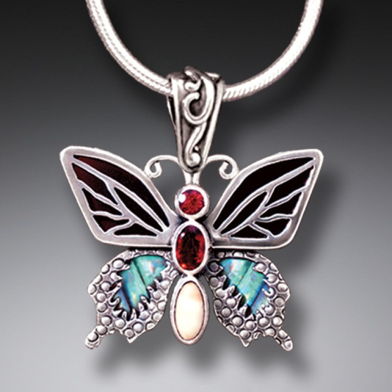 PAUA JEWELRY JEWELED BUTTERFLY NECKLACE WITH GARNET, BLACK MUSSEL, AND FOSSILIZED IVORY - TRANSITION II