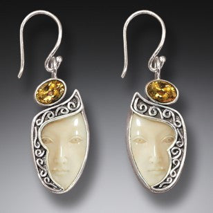 """Enigma"" Ancient Fossilized Walrus Tusk Ivory and Citrine Goddess Silver Earrings"
