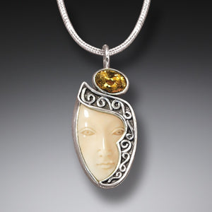 FOSSILIZED WALRUS IVORY GODDESS ENIGMA NECKLACE WITH CITRINE, HANDMADE SILVER - ENIGMA