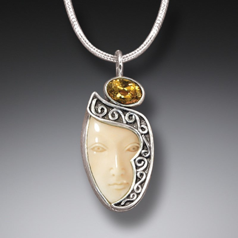 """Enigma"" Ancient Fossilized Walrus Tusk Ivory and Citrine Goddess Silver Pendant"