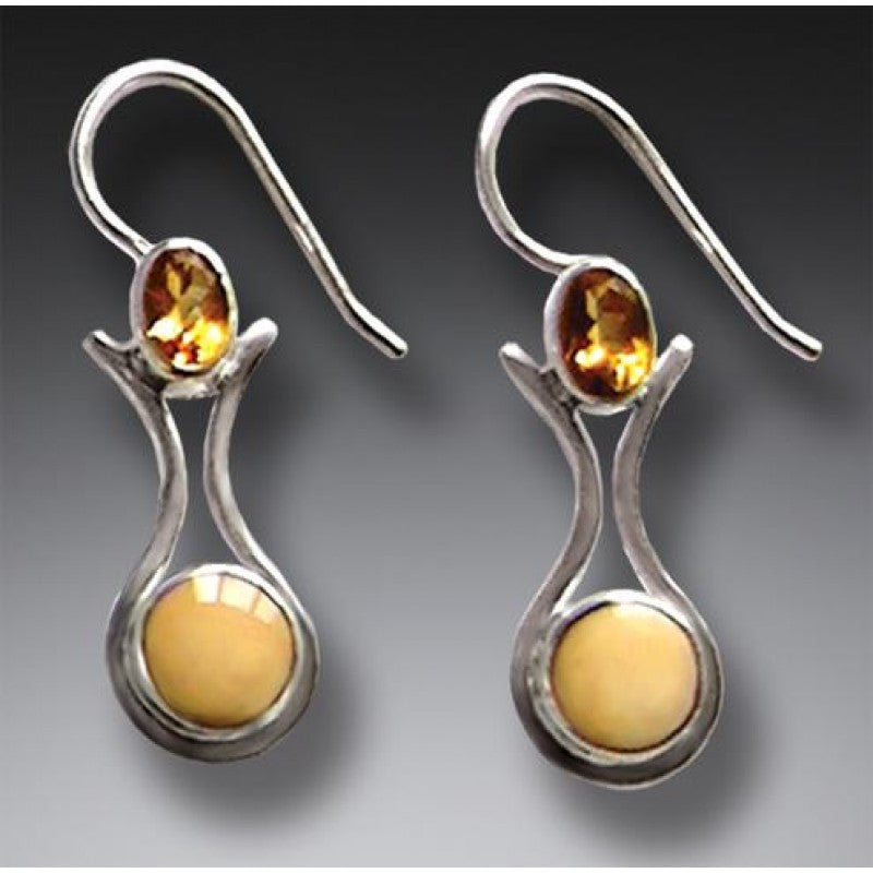 """Amphora"" Ancient Fossilized Walrus Tusk Ivory and Citrine Silver Earrings"