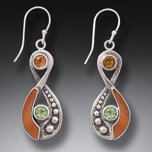 """Infinity"" Ancient Fossilized Walrus Ivory Tusk, Peridot and Citrine Infinity Silver Earrings"