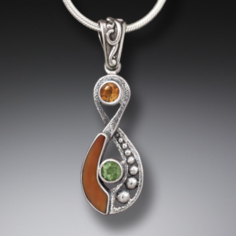 """Infinity"" Ancient Fossilized Walrus Ivory Tusk, Peridot and Citrine Infinity Silver Pendant"