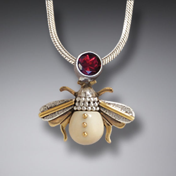 """Bee"" Ancient Fossilized Mammoth Tusk Ivory and Garnet Silver and 14kt Gold Fill Pendant"