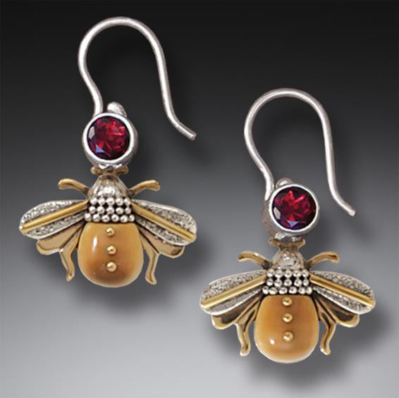 """Bees"" Ancient Fossilized Walrus Tusk Ivory and Garnet Silver Earrings"