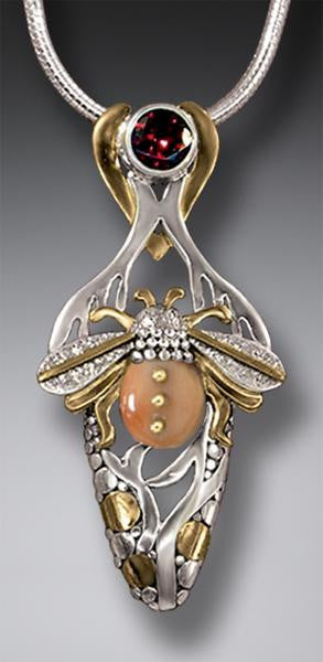"""Bee Habitat"" Ancient Mammoth Tusk Ivory, Garnet, 14kt Gold Fill and Silver Bee Pendant"