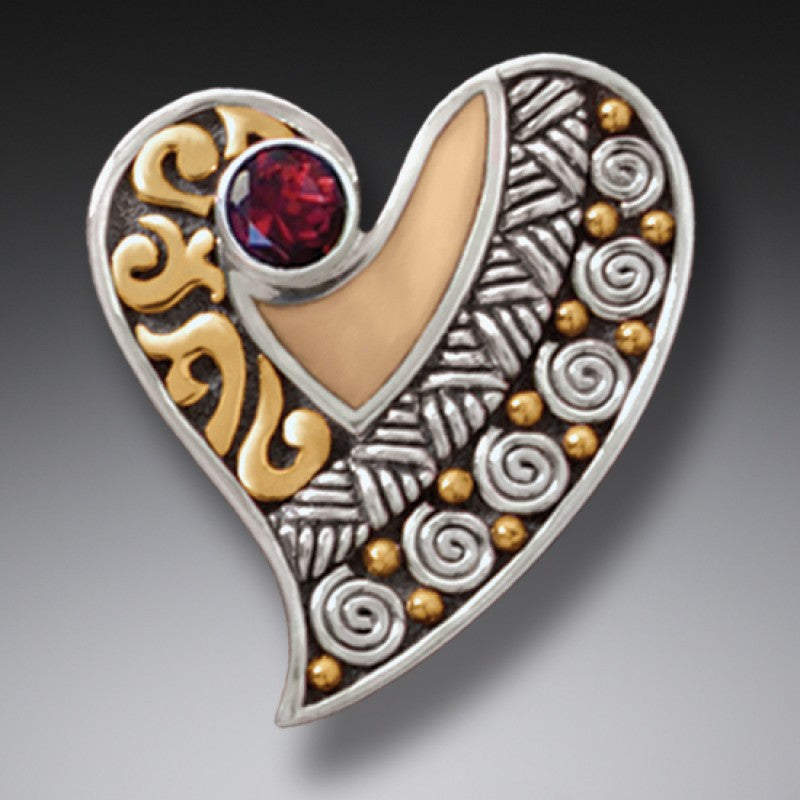 """Heart"" Ancient Fossilized Walrus Tusk and Garnet Sterling Silver Pin or Pendant"
