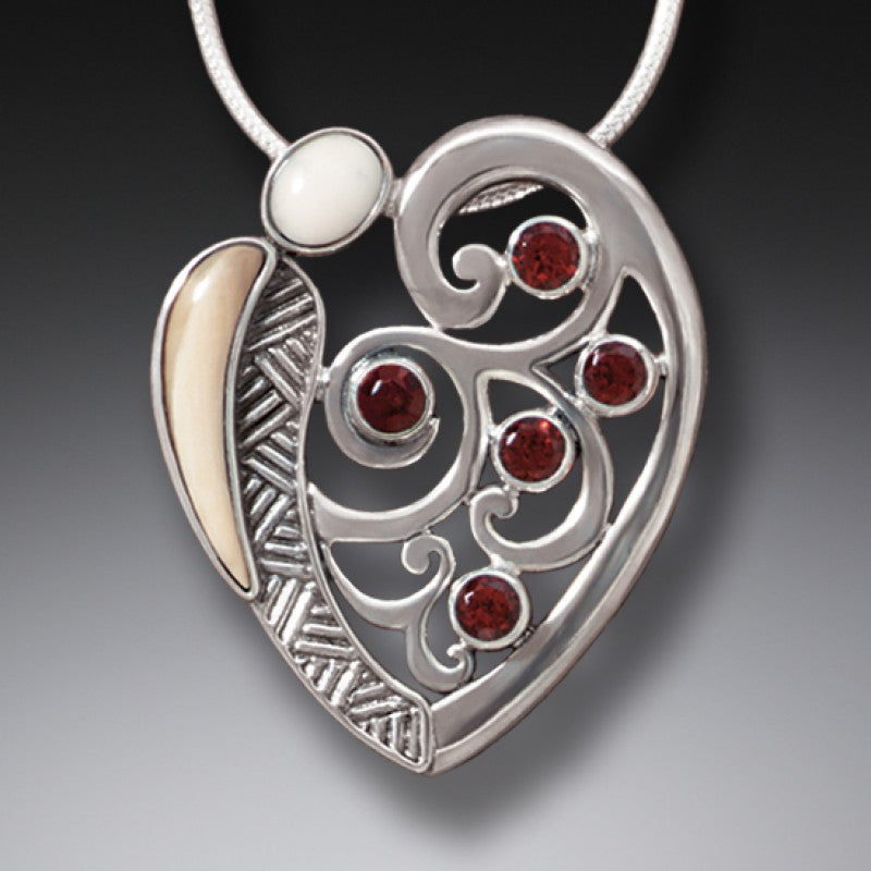 """Heart Song"" Ancient Fossilized Walrus Tusk Ivory and Garnet Silver Pendant"