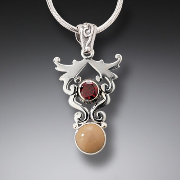 """Life's Passion"" Ancient Fossilized Walrus Tusk Ivory and Garnet Silver Pendant"