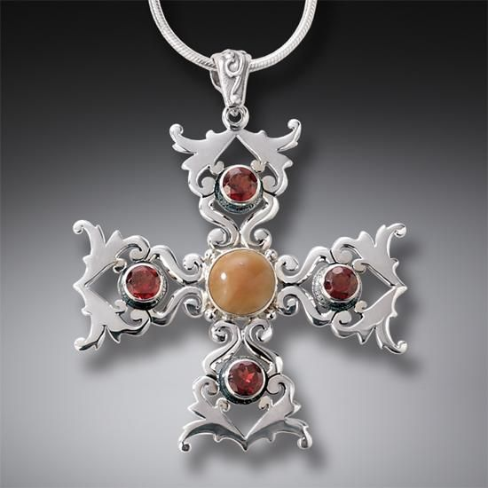 FOSSILIZED WALRUS IVORY CROSS NECKLACE WITH GARNET, HANDMADE SILVER - CROSS