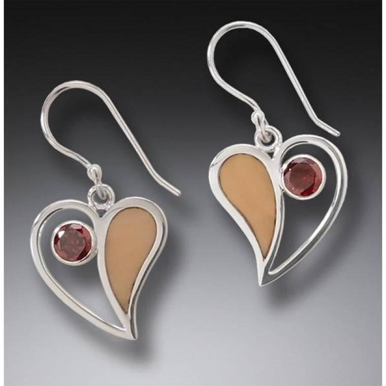 """Heart Song"" Ancient Fossilized Walrus Tusk Ivory and Garnet Silver Earrings"