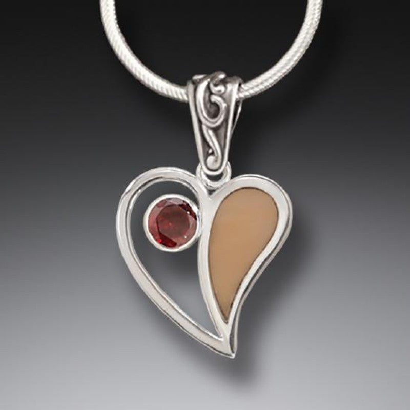 """Heart Song"" Ancient Fossilized Mammoth Tusk Ivory and Garnet Silver Pendant"