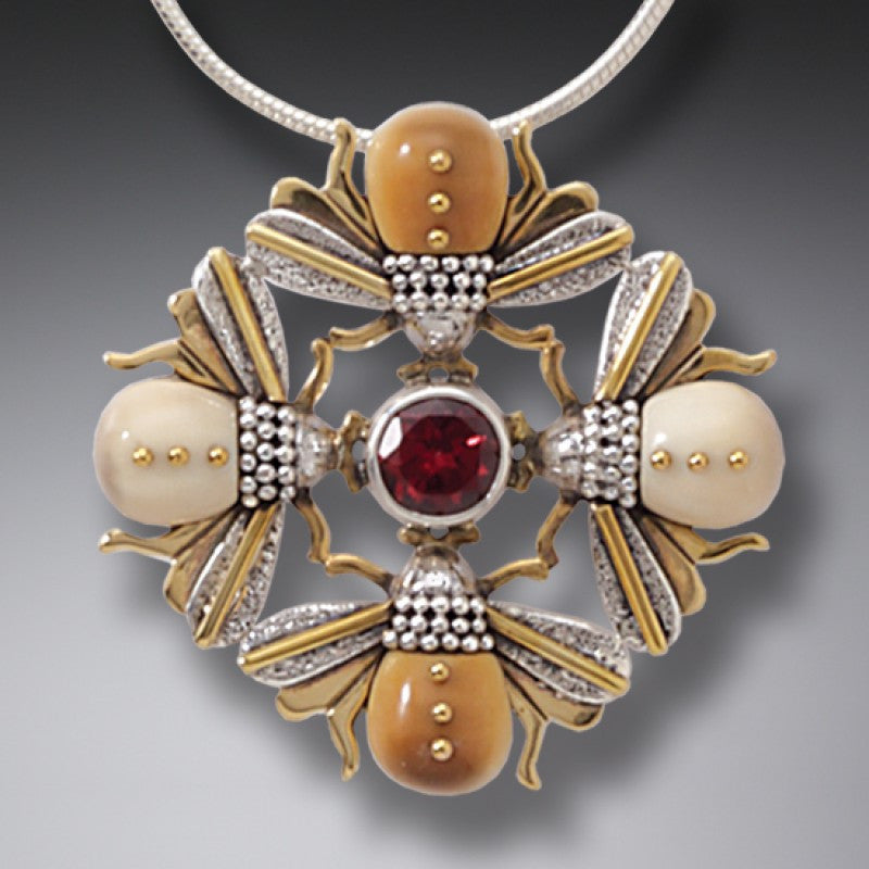FOSSILIZED WALRUS IVORY FOUR BEES NECKLACE, 14KT GOLD FILL AND GARNET - BEE MANDALA