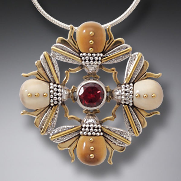 """Bee Mandala"" Ancient Fossilized Walrus Tusk Ivory and Garnet Silver and 14kt Gold Fill Pendant"