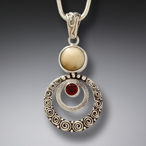 """Ripples"" Ancient Fossilized Mammoth Tusk, Garnet and Sterling Silver Pendant"