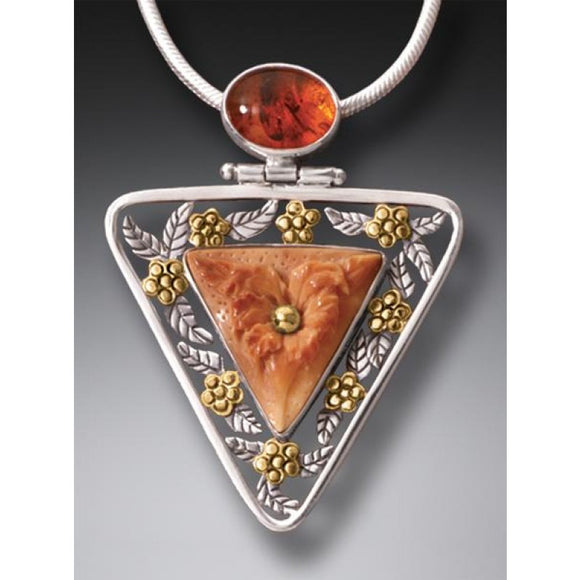 """Flower Triangle"" Ancient Fossilized Walrus Tusk Ivory and Amber Silver and 14kt Gold Fill Pendant"
