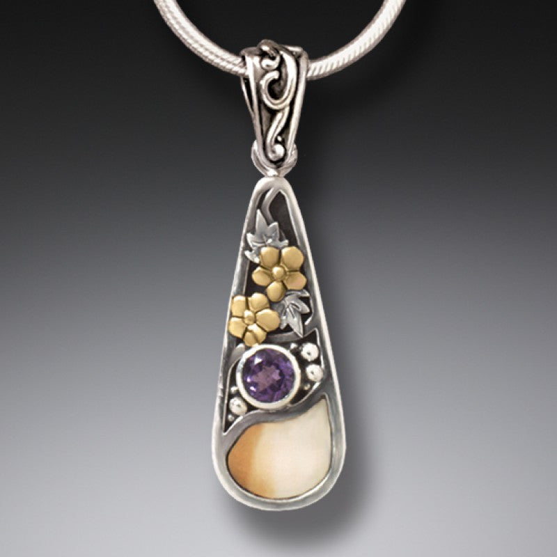 FOSSILIZED WALRUS IVORY SILVER TEARDROP NECKLACE, 14KT GOLD FILL AND AMETHYST - FIRST RAIN