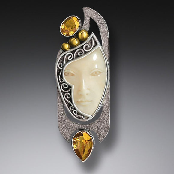 """Enigma"" Ancient Fossilized Walrus Tusk Ivory and Citrine Goddess Silver Pin or Pendant"