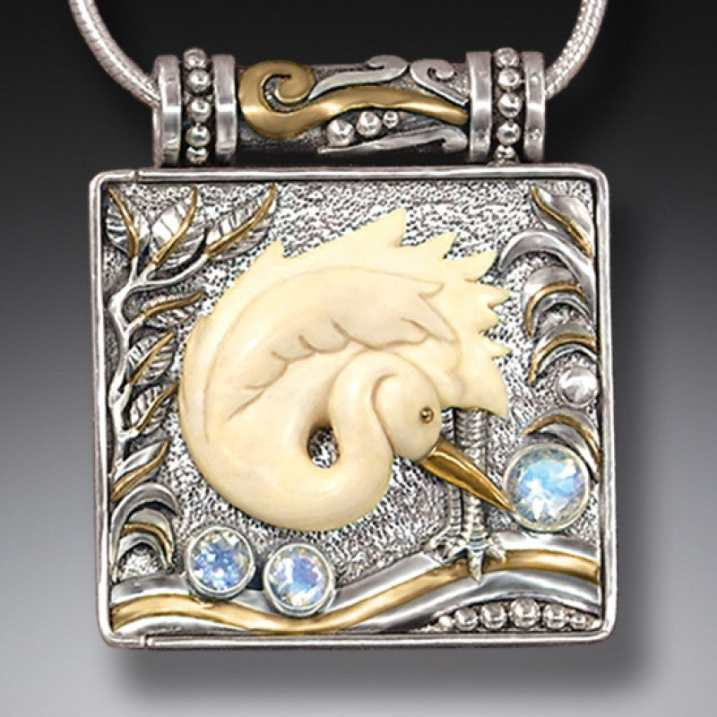 """Egret"" Ancient Fossilized Mammoth Ivory Tusk, Rainbow Moonstone, 14KT Gold Fill and Sterling Silver Locket"