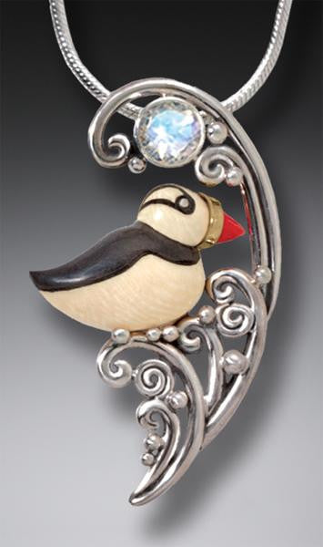 """Puffin in the Waves"" Ancient Fossilized Mammoth Tusk Ivory and Moonstone Silver Pendant"
