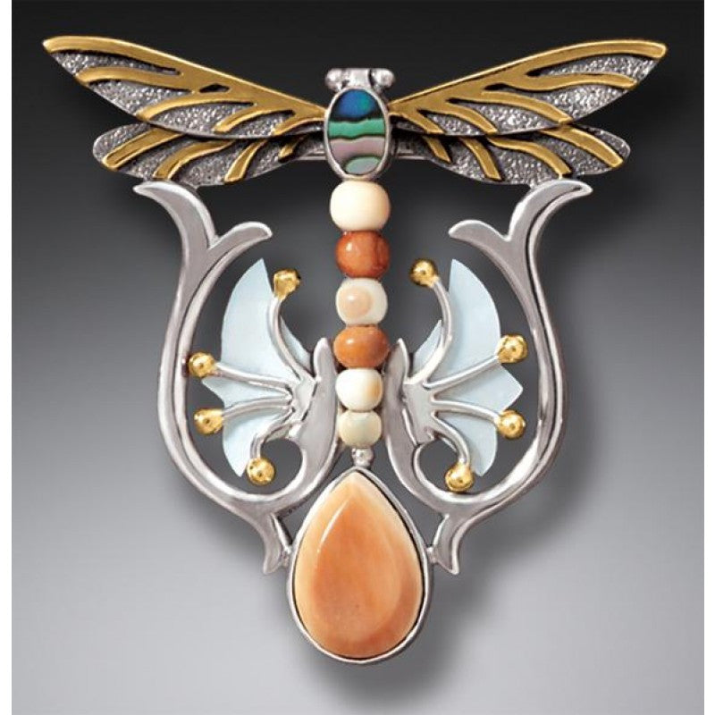 """Dragonfly Rising"" Ancient Fossilized Tusk Ivory, Mother of Pearl and Paua and 14kt Gold Fill Silver Dragonfly Pin or Pendant"
