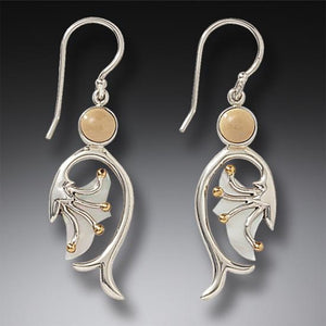 """Emergence"" Ancient Fossilized Walrus Tusk Ivory and Mother of Pearl Silver and 14kt Gold Fill Earrings"