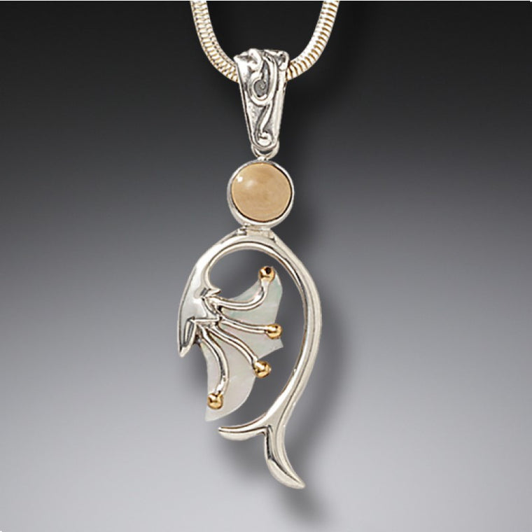 """Emergence"" Ancient Fossilized Walrus Tusk Ivory and Mother of Pearl Silver Pendant"