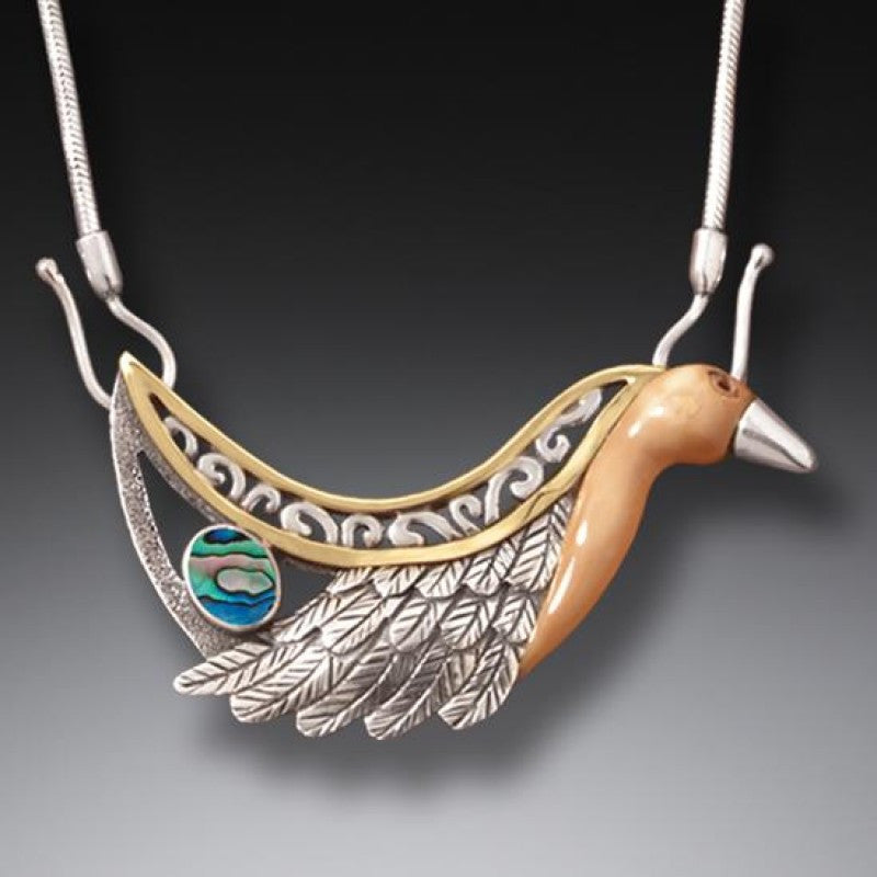 """Firebird"" Ancient Fossilized Walrus Tusk Ivory, Paua, 14kt Gold Fill and Handmade Silver Necklace"