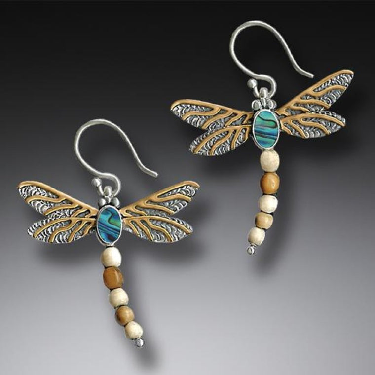 """Dragonfly II"" Ancient Fossilized Walrus Tusk Ivory, Paua, 14kt Gold Fill and Sterling Silver Earrings"