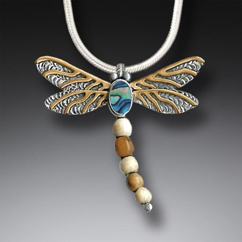 """Dragonfly II"" Ancient Fossilized Mammoth Tusk Ivory, Paua, 14kt Gold Fill and Sterling Silver Pendant"
