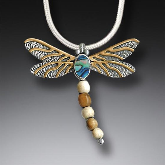 FOSSILIZED WALRUS IVORY DRAGONFLY EARRINGS SILVER WITH PAUA AND 14KT GOLD FILL - DRAGONFLY II