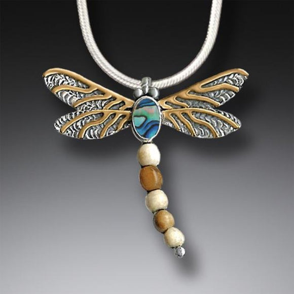 """Dragonfly II"" Ancient Fossilized Walrus Tusk Ivory, Paua, 14kt Gold Fill and Sterling Silver Pendant"