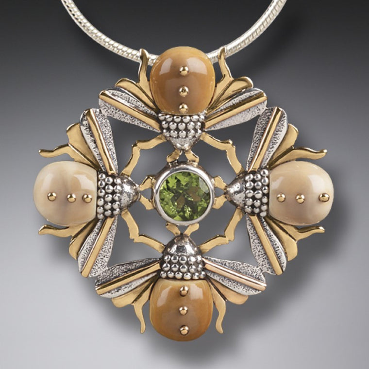 """Bee Mandala"" Ancient Fossilized Walrus Tusk Ivory and Peridot Four Bees Silver and 14kt Gold Fill Pendant"