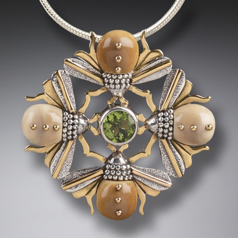"""Bee Mandala"" Ancient Fossilized Mammoth Tusk Ivory and Peridot Four Bees Silver and 14kt Gold Fill Pendant"