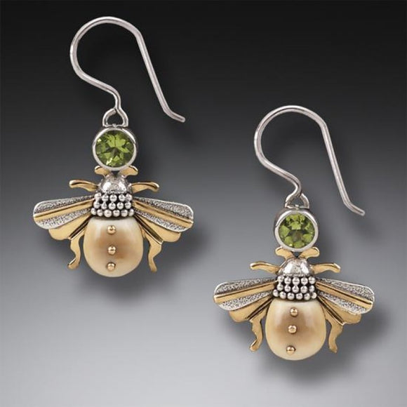 """Bees"" Ancient Fossilized Walrus Tusk Ivory and Peridot Silver Earrings"