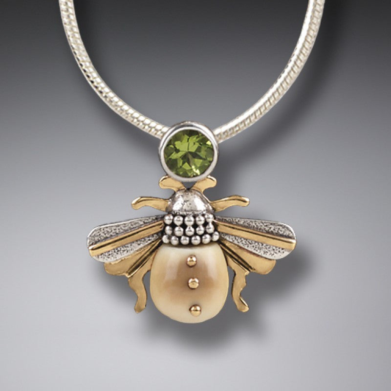 """Bee"" Ancient Fossilized Walrus Tusk Ivory and Peridot Silver Pendant"