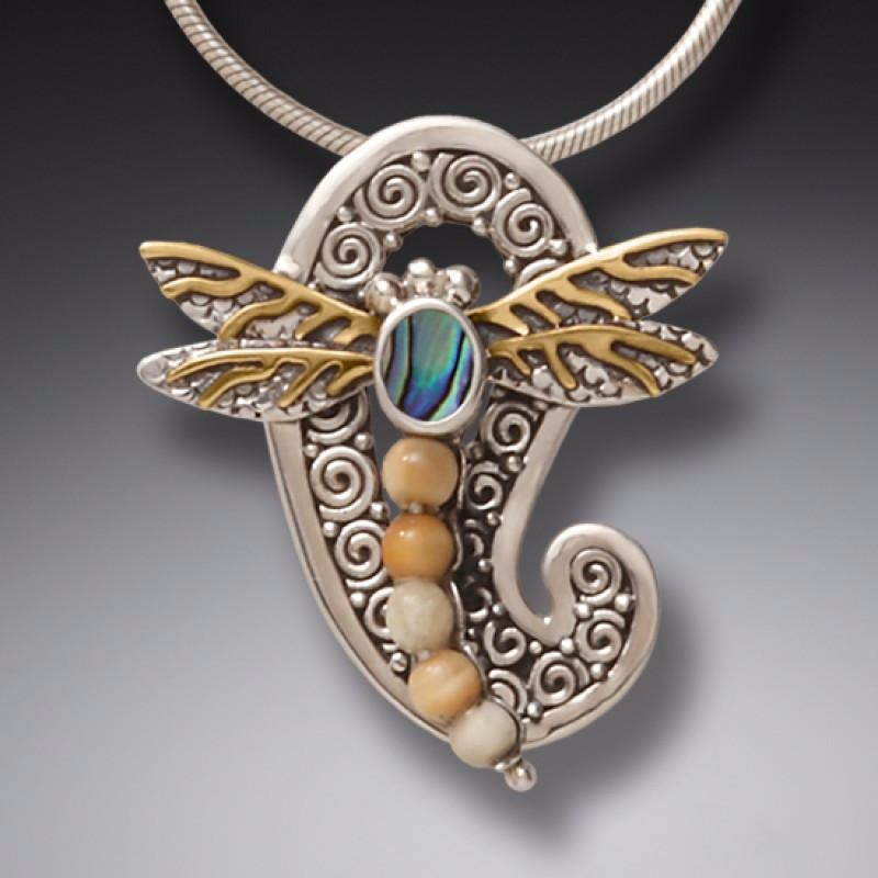 """Paisley Dragonfly"" Ancient Fossilized Walrus Tusk Ivory, Paua, 14kt Gold Fill and Sterling Silver Pendant"