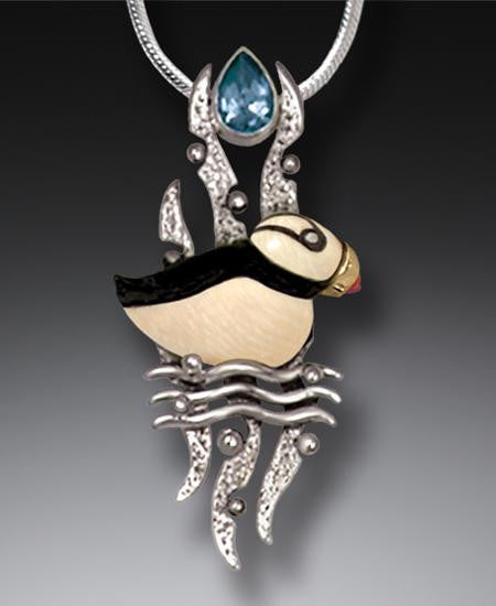 """Puffin"" Ancient Fossilized Mammoth Ivory Tusk and Blue Topaz Silver Pendant"