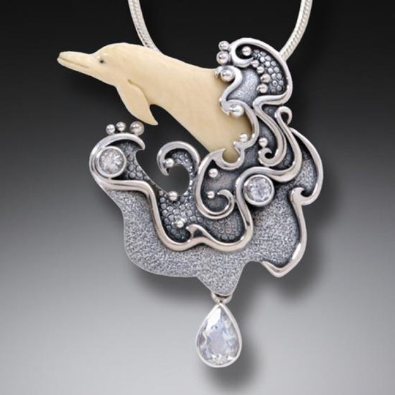 """Sea Spirit"" Fossilized Mammoth Tusk, Rainbow Moonstone Sterling Silver Pendant"