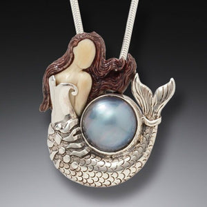 """Ocean Pearl"" Fossil Mammoth Tusk and Pearl Sterling Silver Pendant"