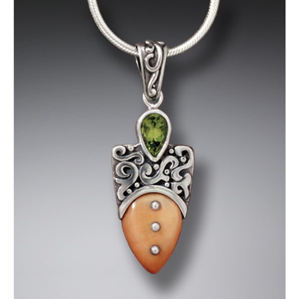 """Shield"" Ancient Fossilized Walrus Tusk Ivory and Peridot Silver Pendant"