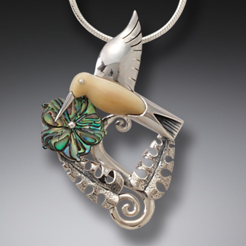 """Hummingbird Garden"" Ancient Fossilized Walrus Tusk, Paua and Sterling Silver Pendant"