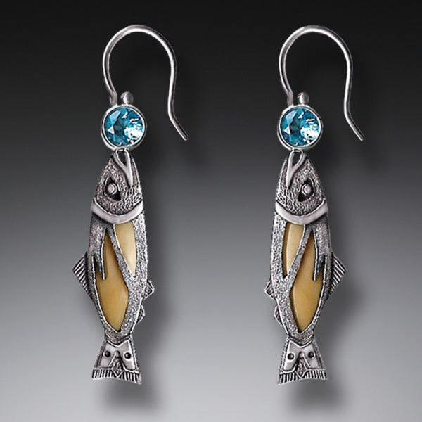 """Treasures from the Stream"" Ancient Fossilized Walrus Tusk Ivory and Blue Topaz Silver Earrings"