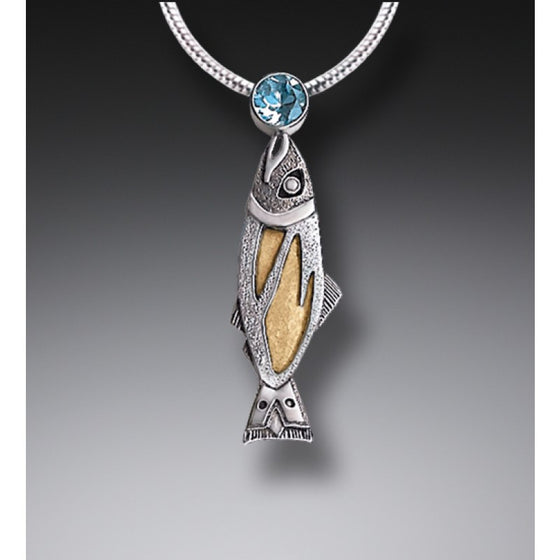 HANDMADE SILVER JEWELED FISH NECKLACE WITH FOSSILIZED WALRUS IVORY AND BLUE TOPAZ - TREASURES FROM THE STREAM