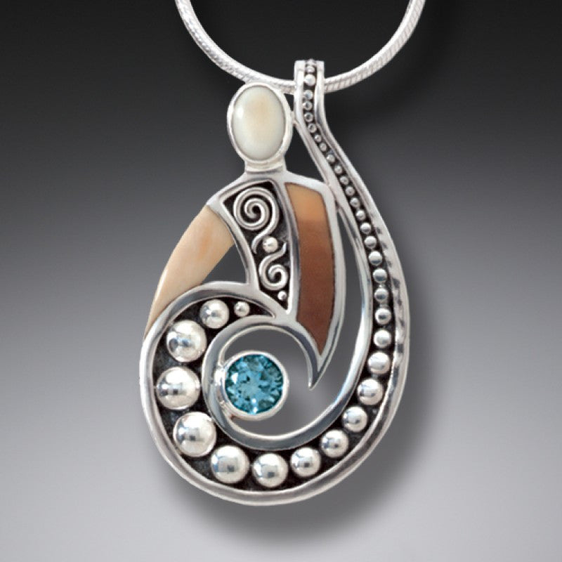 """Spiral Power"" Ancient Fossilized Walrus Tusk Ivory and Blue Topaz Silver Pendant"
