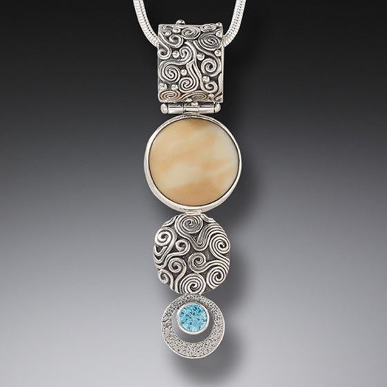 FOSSILIZED WALRUS TUSK BLUE TOPAZ DROP NECKLACE, HANDMADE SILVER - SUN AND RAIN