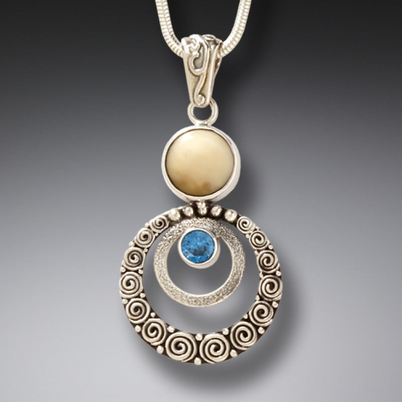 FOSSILIZED WALRUS IVORY SILVER BLUE TOPAZ PENDANT NECKLACE, HANDMADE - RIPPLES