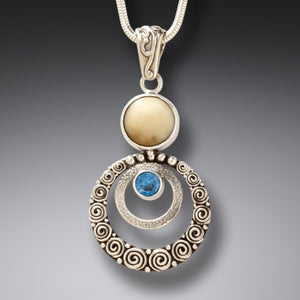 FOSSILIZED MEMMOTH IVORY SILVER BLUE TOPAZ PENDANT NECKLACE, HANDMADE - RIPPLES